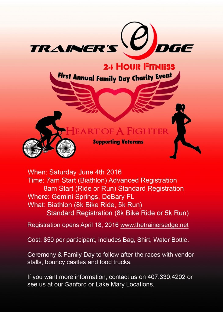 TRAINERS EDGE VETERANS CHARITY FAMILY DAY AND FITNESS EVENT FLYER FRONT