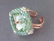 ADJUSTABLE BEADED BEZEL CHRYSOLITE CRYSTAL BUTTON COPPER RING Lexi Butler Designs