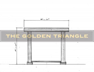 Design drawing of a custom-made piece for a client. Console Altar table hybrid with trestle legs.