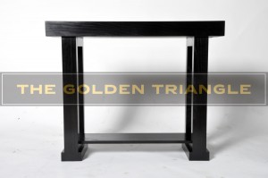 Product shot of a custom-made piece for a client. Console Altar table hybrid with trestle legs.