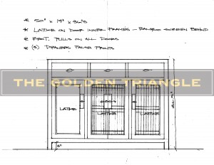 Design drawing and detailed sketch of a custom-made case piece for a client. Console cabinet with lattice work doors.
