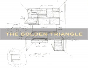 Design drawing of a custom-made piece for a client. Built-in wall unit includes work area and storage space.