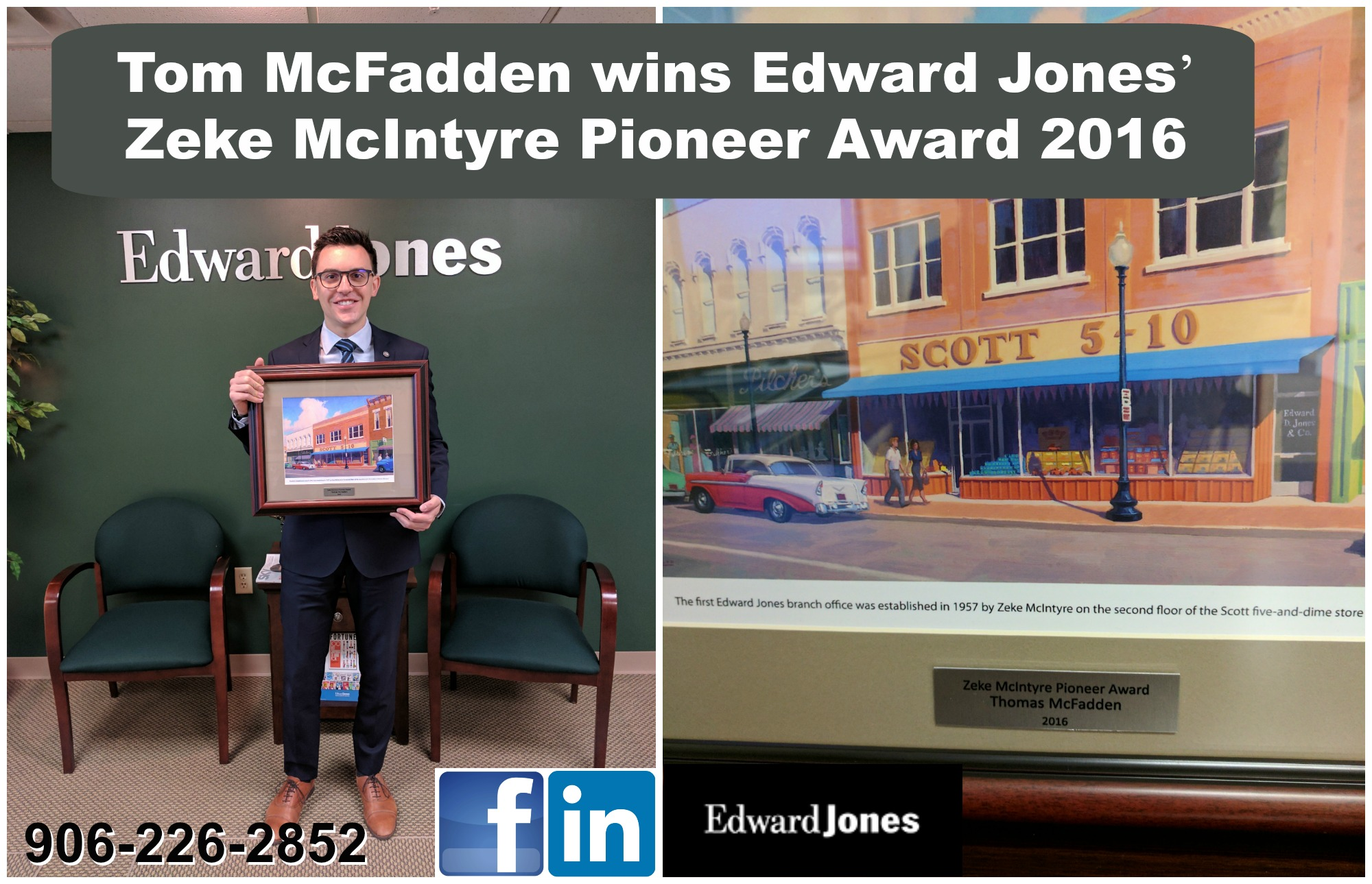 Tom McFadden wins Edward Jones' Zeke McIntyre Pioneer Award 2016