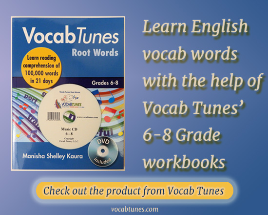 Vocab Tunes' Product that will help 6-8 grade students to learn new English vocab words