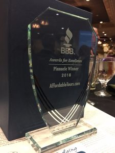AffordableTours.com Receives Most Prestigious BBB Distinction: 2018 Pinnacle Award