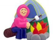 Personalized Camping Christmas Tree Ornament Female Pink